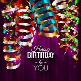 Birthday card with colorful curling ribbons. Vector birthday card with colorful curling ribbons, streamers Royalty Free Stock Photos
