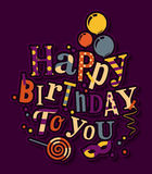 Birthday card. Colorful letters, balloons, masquerade and lollipop. Vector Stock Photography