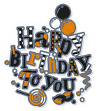 Birthday card. Colorful letters, balloons, masquerade and lollipop. Vector. Royalty Free Stock Photography