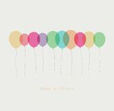 Birthday card with colorful transparent  balloons Stock Photo