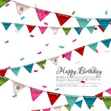 Birthday card with confetti and bunting flags. Royalty Free Stock Photo