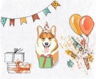 Birthday card with corgi that congratulates you, vector royalty free illustration