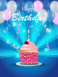 Birthday card with cupcake. Balloons and confetti on blue background stock illustration