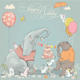 Birthday card with cute bear, elephant and hares Royalty Free Stock Image