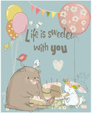 Birthday card with cute bear and hare Stock Image