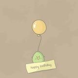 Birthday card with a cute bird holding balloon. Vector Stock Photography