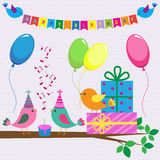 Birthday card with cute birds Royalty Free Stock Photography