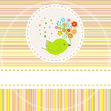 Birthday card with cute birds with flowers gifts Royalty Free Stock Photos