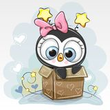 Birthday card with a Cute Cartoon Penguin girl. And a box royalty free illustration