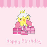 Birthday card with cute chick and birthday gifts Royalty Free Stock Photos