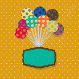 Birthday card with cute colorful balloons and Royalty Free Stock Images
