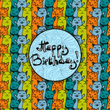Birthday card with cute colorful cats background Stock Photography