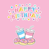 Birthday card with cute donut and soft drink Royalty Free Stock Photography