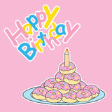 Birthday card with cute donut Stock Image