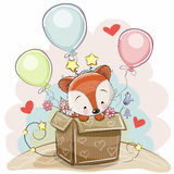 Birthday card with a Cute Fox Royalty Free Stock Photos