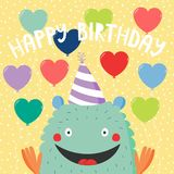 Birthday card with cute funny monster. Hand drawn birthday card with cute funny monster in a party hat, with balloons, typography. Vector illustration. Isolated Stock Photography