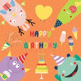 Birthday card with cute funny monsters. Hand drawn birthday card with cute funny monsters in party hats, looking from all sides, with cake, typography. Vector Stock Photo