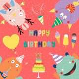 Birthday card with cute funny monsters. Hand drawn birthday card with cute funny monsters in party hats, looking from all sides, with cake, typography. Vector Royalty Free Stock Photography