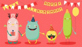 Birthday card with cute funny monsters. Hand drawn birthday card with cute funny monsters in party hats, smiling and holding hands, with typography. Vector Stock Photo