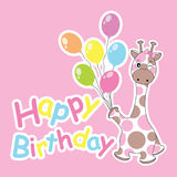 Birthday card with cute giraffe bring colorful balloons. Suitable for birthday greeting card, postcard, and invitation card Royalty Free Stock Images