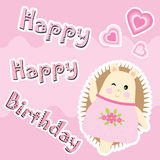 Birthday card with cute hedgehog and love shape Stock Image