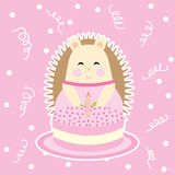 Birthday card with cute hedgehog on pink polka dot background Stock Photo