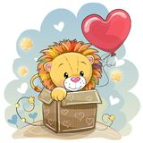 Birthday card with a Cute Lion. And balloon stock illustration