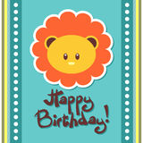 Birthday card with cute lion Stock Images