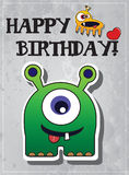 Birthday card with cute monsters. And heart Stock Images