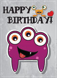 Birthday card with cute monsters. And heart Stock Photography