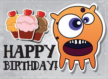 Birthday card with cute monsters. And cup cakes Royalty Free Stock Photos