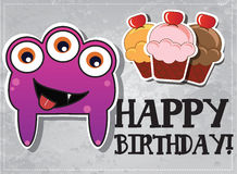 Birthday card with cute monsters. And cup cakes Royalty Free Stock Image