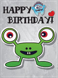 Birthday card with cute monsters. And heart Royalty Free Stock Photos