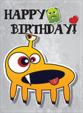 Birthday card with cute monsters. And heart Royalty Free Stock Photo