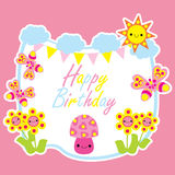 Birthday card with cute mushroom cartoon in the garden Stock Photography