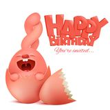 Birthday card with cute pink rabbit cartoon character sitting in egg Royalty Free Stock Images