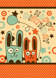 Birthday card with cute rabbits Royalty Free Stock Photography