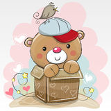Birthday card with a Cute Teddy. Bear and a bird royalty free illustration
