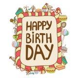 Birthday Card. Cute Birthday Card in vector: EPS+AI. Version 8 Royalty Free Stock Photo