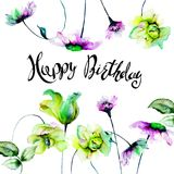 Birthday card with Decorative summer flowers. Title happy birthday, watercolor illustration Stock Photo