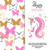 Birthday card design with beautiful unicorn for little girl Royalty Free Stock Image