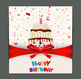Birthday card design with cake Stock Photos