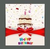Birthday card design with cake Stock Photos