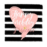 Birthday card Design elements for little princess, glamour girl and woman. vector illustration. Royalty Free Stock Image