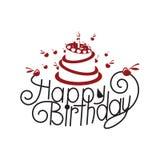 Birthday card design. Happy birthday card design with cake Stock Photos