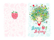 Birthday card design with holiday girl Royalty Free Stock Images