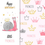Birthday card design for little girl with cute little princess snail. royalty free illustration