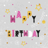 Birthday card design with sparkling dots and stars. Stock Images