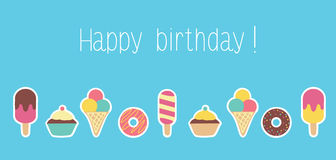 Birthday card design with sweets Stock Photos