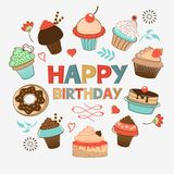 Birthday card with desserts Royalty Free Stock Photo